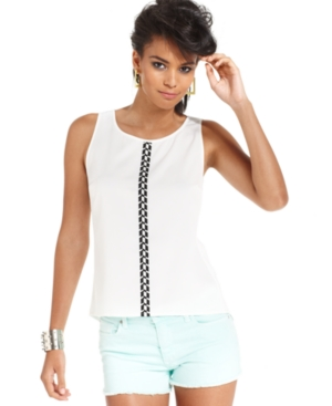 Bar III Top, Sleeveless Scoop-Neck Printed Zipper Tank