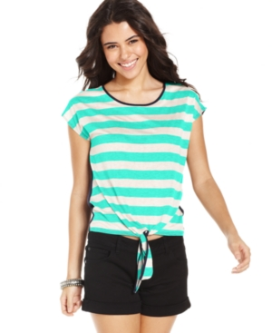 Pink Rose Juniors Top, Short Sleeve Striped Tie-Front Tee