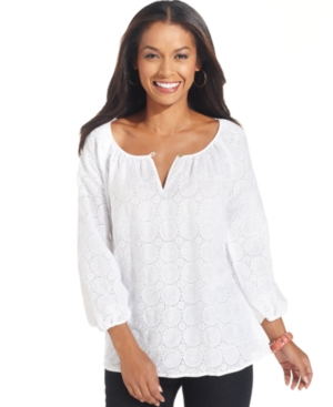 Charter Club Top, Three-Quarter-Sleeve Eyelet Peasant