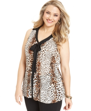 NY Collection Plus Size Top, Sleeveless Animal-Print Lace Blouse