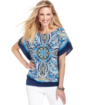 JM Collection Top, Short-Sleeve Scarf-Print Blouse