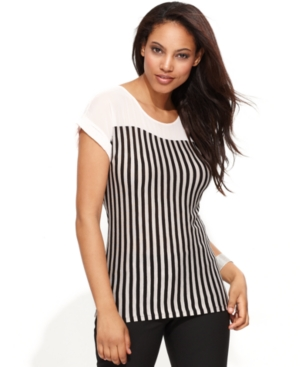 INC International Concepts Top, Cap-Sleeve Striped Blouse