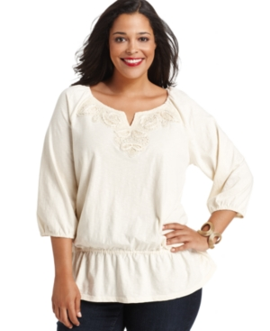 Charter Club Plus Size Top, Three-Quarter-Sleeve Embellished Peasant