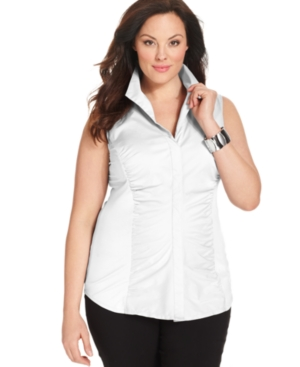 Alfani Plus Size Top, Sleeveless Ruched Shirt