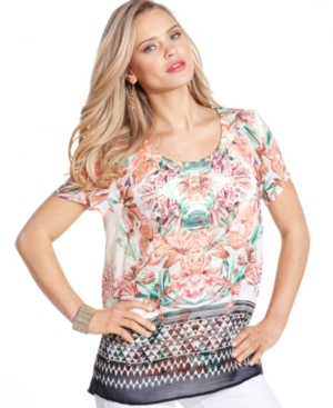 Style&co. Top, Short-Sleeve Printed Open-Back