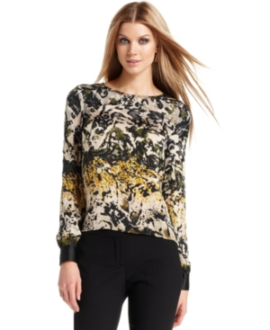 Vince Camuto Top, Long-Sleeve Printed High-Low Blouse