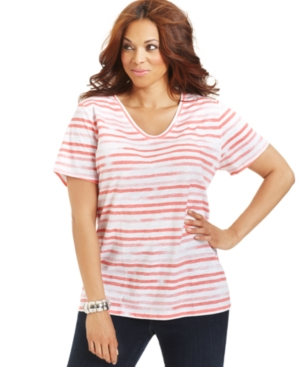 Style&co. Sport Plus Size Top, Short-Sleeve Striped