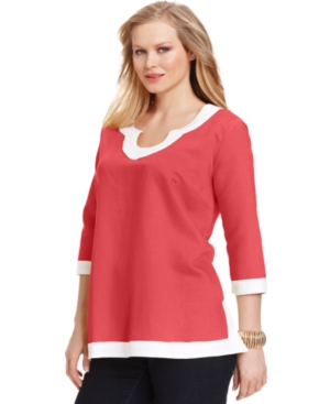 NY Collection Plus Size Top, Three-Quarter-Sleeve Tunic