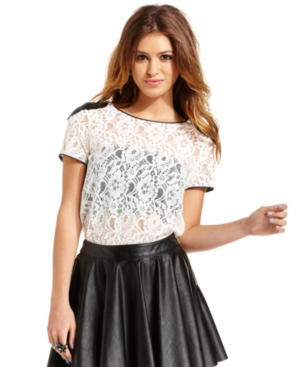 XOXO Juniors Top, Sleeveless Faux-Leather Lace Blouse