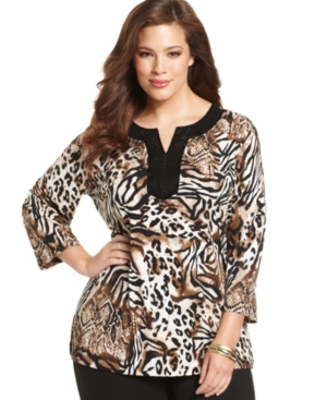 JM Collection Plus Size Top, Three-Quarter-Sleeve Animial-Print Sequin Tunic