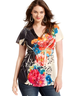 One World Plus Size Top, Short-Sleeve Printed Applique