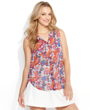 QMack Top, Sleeveless Collared Floral-Print