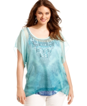 One World Plus Size Top, Short-Sleeve Ombre Printed Layered-Look