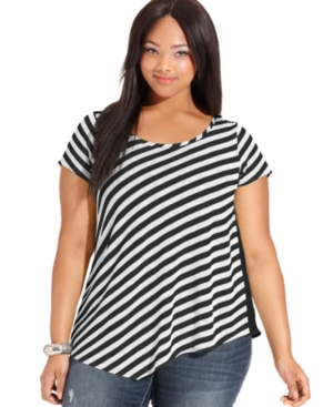 Extra Touch Plus Size Top, Short-Sleeve Striped
