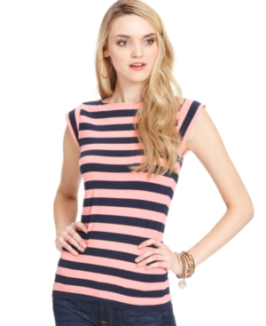 French Connection Top, Short-Sleeve High-Neck Striped