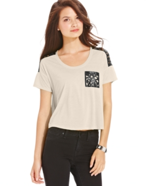 Planet Gold Juniors Top, Short Sleeve Faux-Leather Cutout Tee