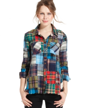 Free People Top, Long-Sleeve Plaid Patchwork Shirt