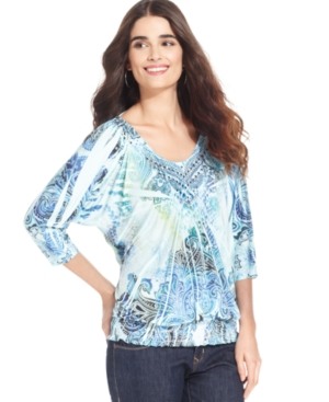 Style&co. Top, Dolman-Sleeve Sublimated-Print Smocked