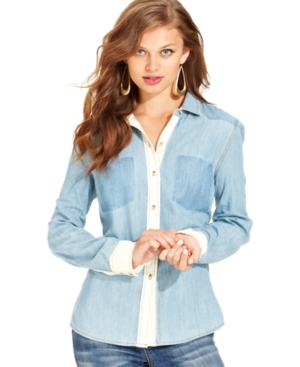 Jessica Simpson Juniors Top, Long Sleeve Denim Button-Down