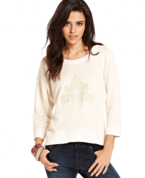 Chord Juniors Top, Three-Quarter Sleeve Graphic Lace-Back