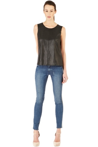 Leather And Chiffon Top