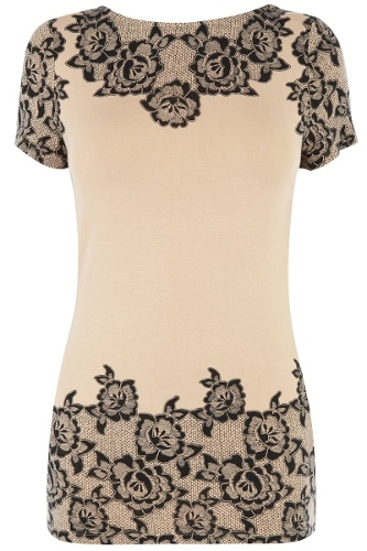 Lace Border Fitted T-Shirt