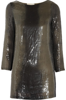 Tonal sequined jersey tunic