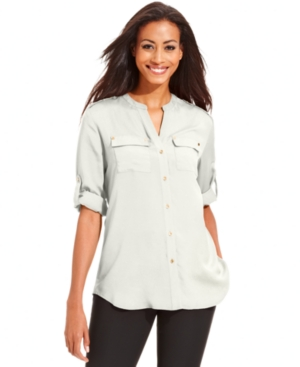 Charter Club Top, Long-Sleeve Button-Down Blouse