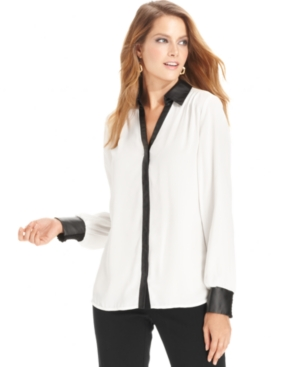 Alfani Top, Long-Sleeve Faux-Leather Shirt