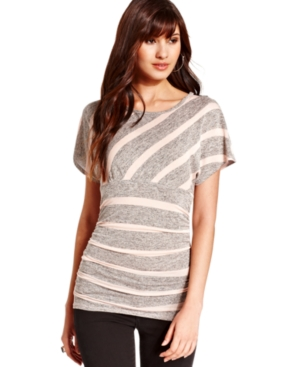 BCX Juniors Top, Short Sleeve Striped Ruched Lace-Back