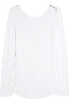 Wrap-back cotton and linen-blend jersey top