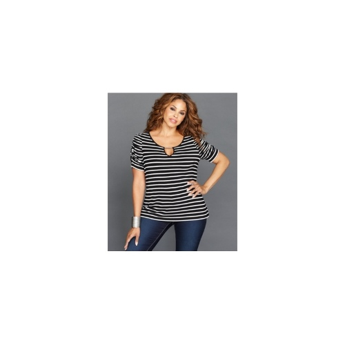 INC International Concepts Plus Size Top, Short-Sleeve Striped Ruched Keyhole