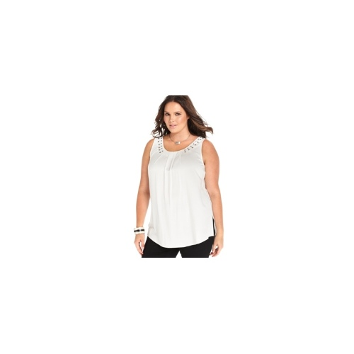 NY Collection Plus Size Top, Sleeveless Rhinestone Pleated