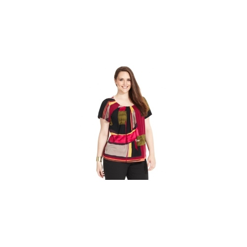 Style&co. Plus Size Top, Short-Sleeve Colorblocked-Print Pleated