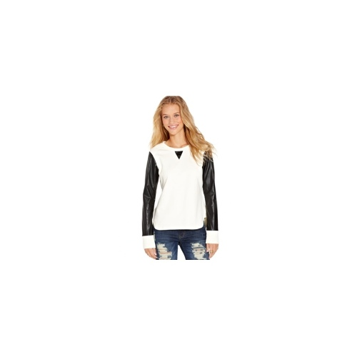 Miss Chievous Juniors Top, Long Sleeve Faux-Leather Mixed-Media
