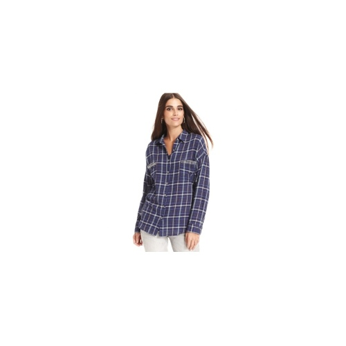 TWO by Vince Camuto Top, Long-Sleeve Studded Plaid Shirt