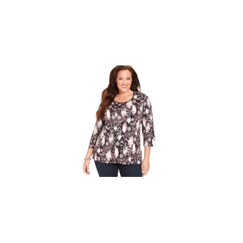 JM Collection Plus Size Top, Three-Quarter-Sleeve Satin Trim Printed
