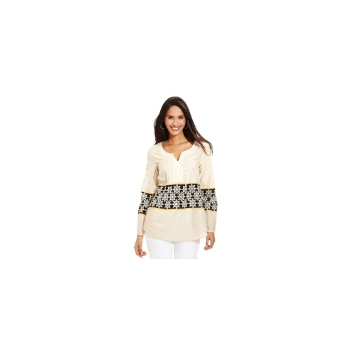 Style&co. Top, Roll-Tab-Sleeve Printed Sequin Shirt