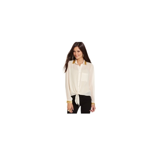 XOXO Juniors Top, Long Sleeve Beaded Tie-Front Blouse