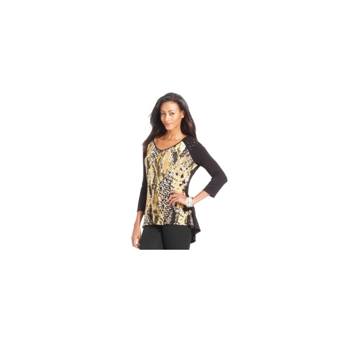 Style&co. Top, Three-Quarter-Sleeve Snakeskin-Print Studded