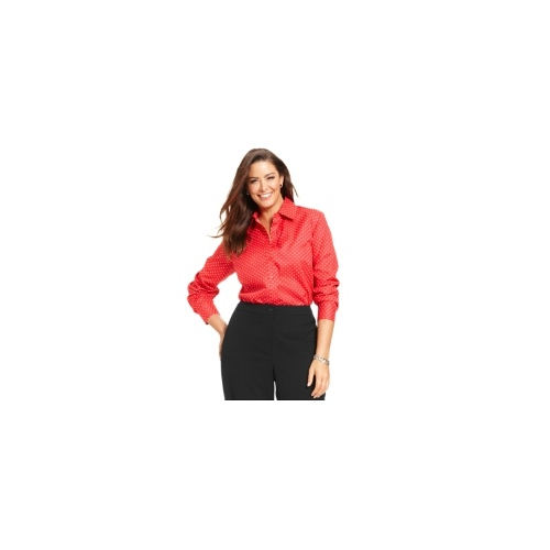 Jones New York Signature Plus Size Shirt, Easy Care Long-Sleeve Polka-Dot