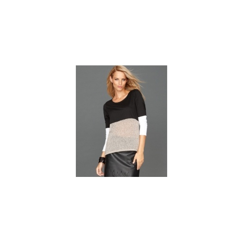INC International Concepts Top, Long-Sleeve Mixed-Media Colorblock