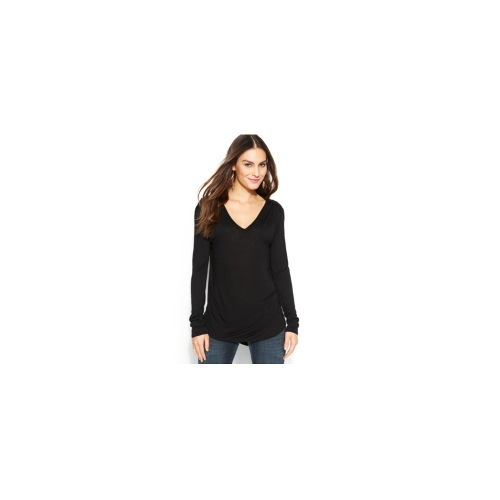 TWO by Vince Camuto Top, Long-Sleeve Ruched-Shoulder V-Neck
