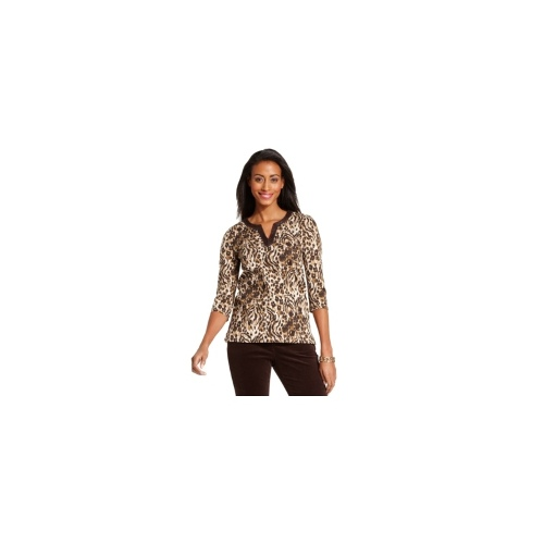 Charter Club Top, Three-Quarter-Sleeve Animal-Print Beaded Tunic