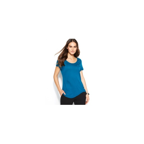 TWO by Vince Camuto Top, Short-Sleeve Pocket Scoop-Neck Tee