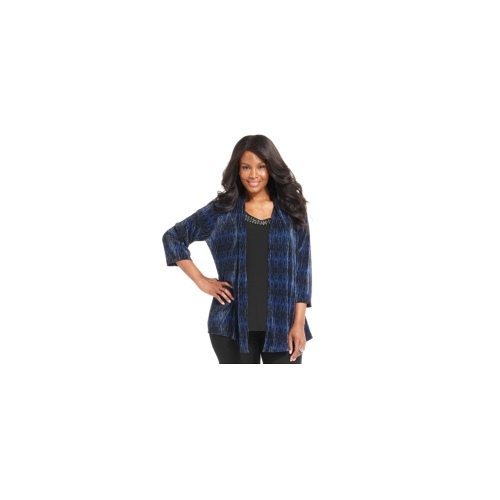 JM Collection Plus Size Top, Three-Quarter-Sleeve Printed Layered-Look