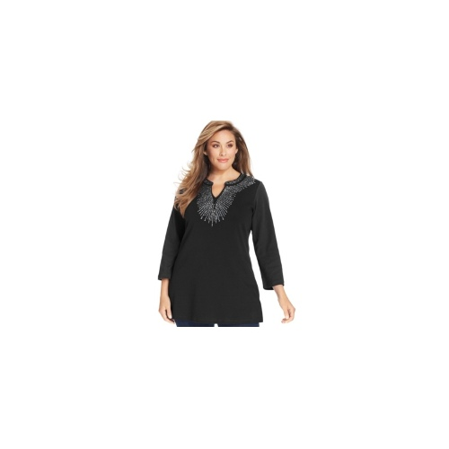 JM Collection Plus Size Top, Three-Quarter-Sleeve Studded Tunic