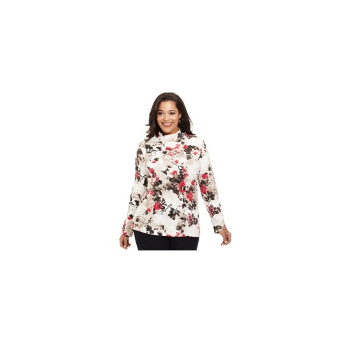 Karen Scott Plus Size Top, Long-Sleeve Floral-Print Mock-Neck
