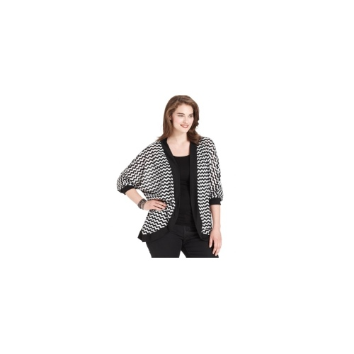 Extra Touch Plus Size Top, Three-Quarter-Sleeve Chevron-Print Open-Front