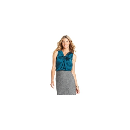 Anne Klein Top, Knot-Front Charmeuse Shell